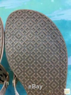 $198 TORY BURCH Miller Beige Leather Logo SZ 7.5 T-Strap Sandals NEW