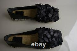 $225 NEW Tory Burch Blossom Espadrille Black Leather Flowers Flats Shoes 5