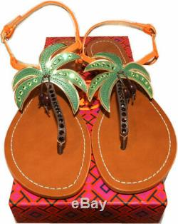 $225 Tory Burch Castaway Flat Sandals Crystals Palm Shoe Slingback 9 Thongs