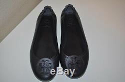 $225+ Tory Burch Minnie Travel Ballet flat Shoe BLACK Leather Shoes Sz 6 M