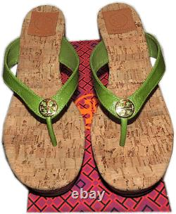 $225 Tory Burch Suzy Cork Wedge Thongs Sandals Green Shoe Flip Flop 9- 39
