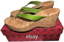 $225 Tory Burch Suzy Cork Wedge Thongs Sandals Green Shoe Flip Flops 8- 38