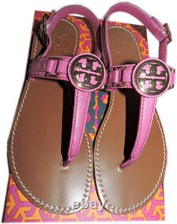 $225 Tory Burch Thongs Pink Cassia Sandals Fuchsia Shoes Flip Flops 7.5 T Strap