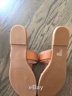 $228 NEW Tory Burch Marsden Flat Thong Sandals Tan Calf Leather Gold Logo 8 M