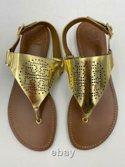 $248 Tory Burch Women's Gold Brown Buckle Metallic Flat Sandals Shoes 9.5 tde09