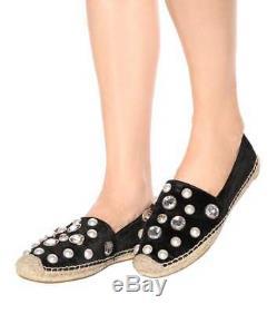 $258 NEW Tory Burch VAIL Espadrille Crystal Embellished Velvet Black Shoes 5.5