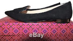 $265 Tory Burch Flat Black Suede Gold Logo Heel Pump Ballet Ballerina Shoe 8.5
