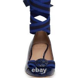 $275 Tory Burch Maritime Ankle Wrap Flats Cobalt Ballet Ballerina Bow Shoes 6.5