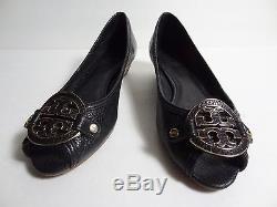 $285 Tory Burch Amanda Demi Wedge Women pebbled leather shoe heel sandal Sz 8 M
