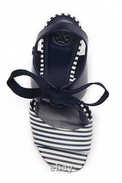 $295 NEW IN BOX Tory Burch Women Maritime Stripe Wedge Heel Sandal Shoes Sz 7.5