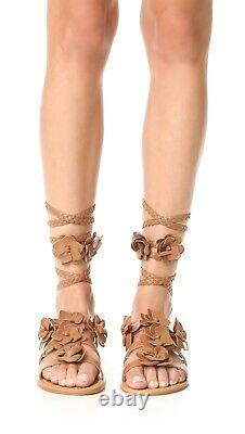 $295 NEW Tory Burch Women Blossom Flower Gladiator Sandals Shoes Royal Tan US 6