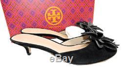 $295 Tory Burch JULES Sandals Black Flower Shoe Slides Mules Flip Flop 8