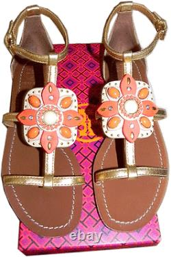 $295 Tory Burch Maura Gold Leather T Strap Floral Sandals Slide Thongs Shoes 8.5