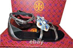 $295 Tory Burch Maura Silver Leather T Strap Gems Sandals Slide Thong Shoe 8