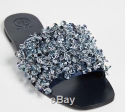 $298 New Tory Burch LOGAN FLAT SLIDE Sandals Satin Beaded Grey Navy Shoes 8 9