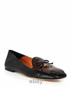 328 New TORY BURCH Charm Flat Shoes, 8, Logo, Cocoa/Black, Mule, Leather, Croco, NIB