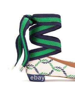 $335 Tory Burch Maritime Ankle Wrap Flats Isle Ribbon Ballerina Bow Shoes 8.5