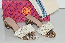 $348 New Tory Burch TATIANA Beaded PEARL Slide Sandals Brocade Black Gold Shoe 7