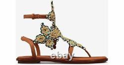 $350 Tory Burch PALISADE Flat Thongs Sandals Tan Leather Shoe Flip Flops 10.5 T