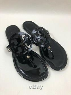 #357 Tory Burch Miller Black Patent Flip Flop Sandals Size 7.5 M
