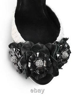 $375 Rachel Roy Pumps Crystals Flower Black Ivory Sandals Slingbacks Shoe 9.5