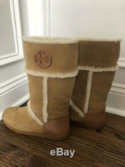 $395 TORY BURCH AMELIE SHEARLING BOOTS PULL ON FLAT WEDGE WARM Women's 8.5 8