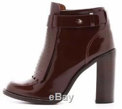 $425 New TORY BURCH Burgundy Borscht Shiny Leather Hyde Boots Booties Shoes 9.5