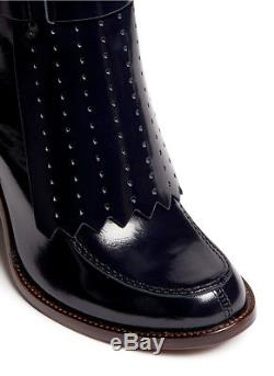 $425 New TORY BURCH High Shine Leather Hyde Boots Booties Navy Shoes 9.5