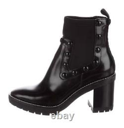 $478 New TORY BURCH Black PRESTON Sz 7.5 Leather Boots Shoes