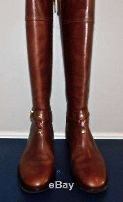 $495! NEW Womens TORY BURCH BRITA SIENNA LEATHER LOGO KNEE HIGH RIDING BOOTS 8.5