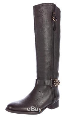 $495 New TORY BURCH Black Tall ELINA Sz 8 Logo Pebbled Leather Boots Shoes