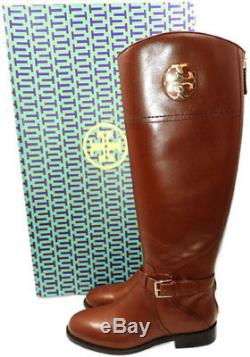 $495 Tory Burch ADELINE Riding Boots Tall Flat Equestrian Booties 11 Gold Logo