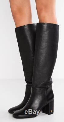 $498 size 7 Tory Burch Brooke Slouchy Black Leather Boots Heels Womens Shoes