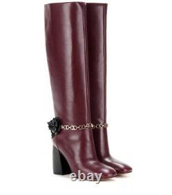 $550 NIB Tory Burch Burgundy Blossom Block Heel Boots Tall Knee High Shoes US 10