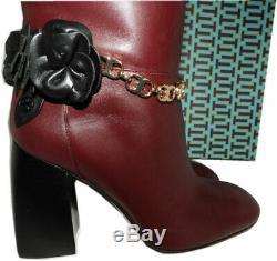 $550 Tory Burch Boots Blossom Chain Tall Knee High Shoes 10 Burgundy Block Heel