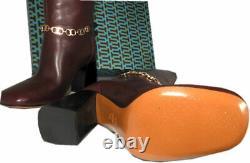 $550 Tory Burch Burgundy Blossom Block Heel Boots Tall Knee High Shoes 8