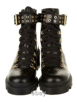 $595 New ALICE + OLIVIA Black HAVIS MOTO Sz 38/8 Grommet Boots Shoes