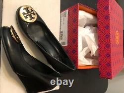 6M TORY BURCH Black SALLY Wedge Heels Pumps Shoes Gold Logo Closed