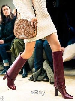 $750 NWB Tory Burch Sarava Braided Leather Stacked Heel Knee Boots Brown 6.5