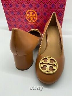 AUTH NIB $278 Tory Burch Chelsea Medallion Logo Tan Leather Pump Shoe Sz 9