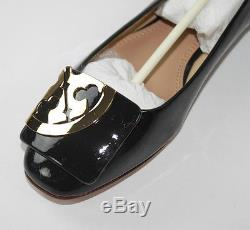 AUTH Tory Burch Women Square Toe Logo Flat Soft Patent Leather Shoes 6.5