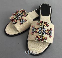 Auth TORY BURCH Ines $248 Embellished Slides Shoes, Sandals, NIB, Ladies Sz. 6.5