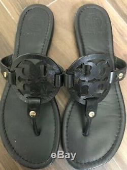 Authentic TORY BURCH Miller Black Leather Thong Sandals Size 8
