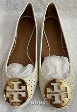 Authentic Tory Burch Leather Ballet Flats Shoe Women's Size 8.5M Color White
