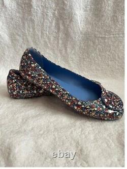Authentic Tory Burch Minnie Leather Ballet Flats Shoe Women's Size 9M Multicolor