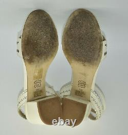 B5 TORY BURCH Marguerite Ivory Lthr Perforated Low Heel Sandal Shoes Sz 8M $350