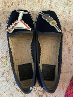 BRAND NEW TORY BURCH velvet blue ESPADRILLE Martini and olive SHOES FLATS SIZE 5