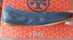 Brand New In The Box Tory Burch Caroline 2 Ballet Flat Size 8 Navy