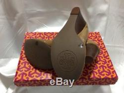 Brand New Tory Burch Caroline Sand Patent Leather Wedge Shoes Sz 7.5 Gold $265