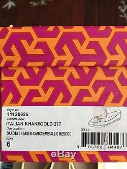 Brand New Tory Burch Dakota Sneaker Canvas Metallic Khaki Gold Sz 6